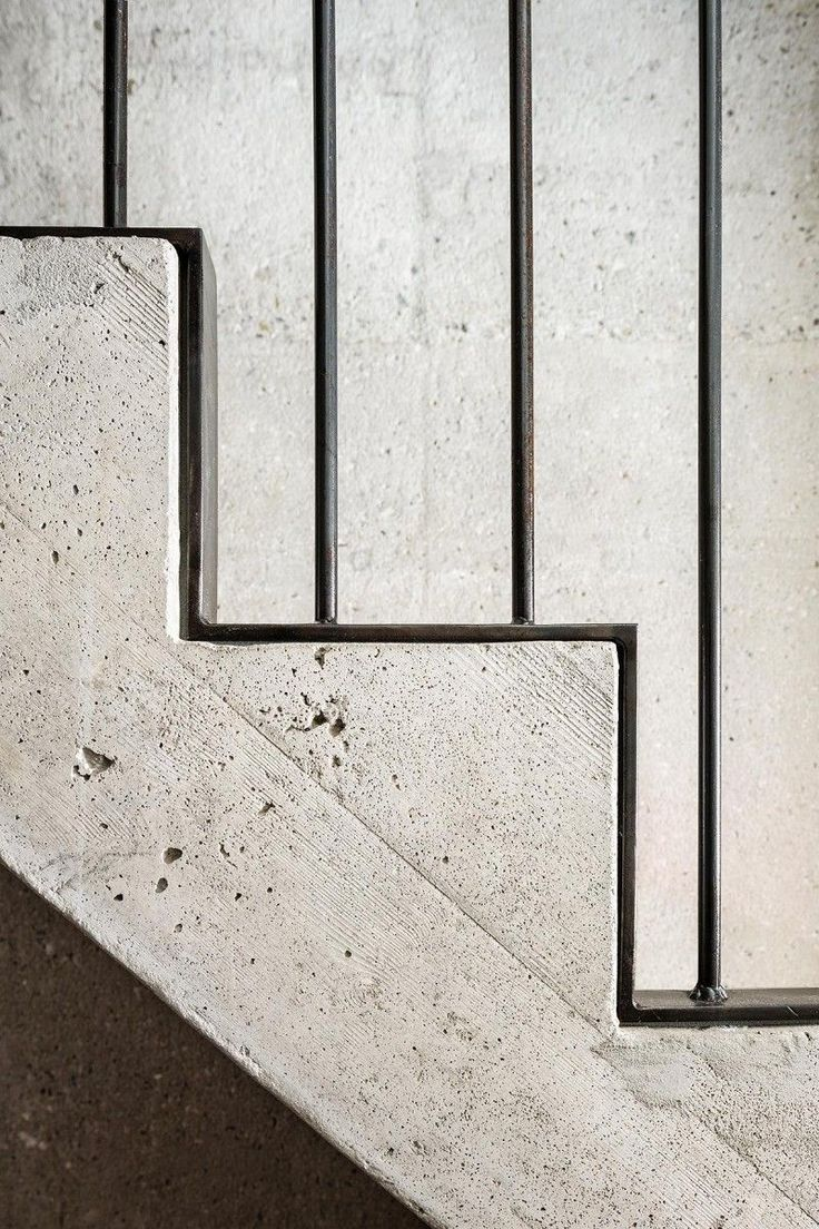 concrete and metal stair