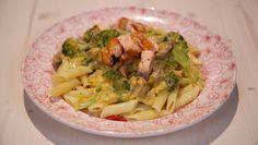 Romige champignons met spicy pasta en zalm - recept | 24Kitchen