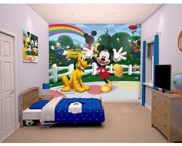 Mickey mouse clubhouse wall mural! Includes Mickey, Pluto, Goofy and Donald! Available to order t www.middletonwood.co.uk