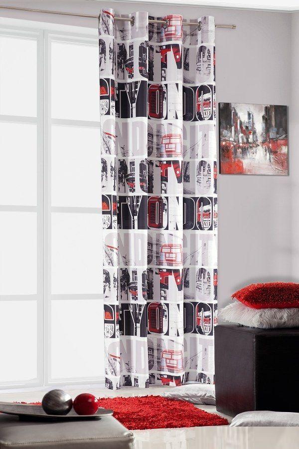 Czerwono czarne napisy LONDON CITY nowoczesne gotowe zasłony białe