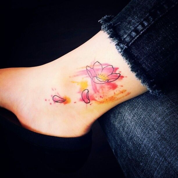 2017 trend Watercolor tattoo - Pink abstract watercolor tattoo on calves for girls - flower tattoo...
