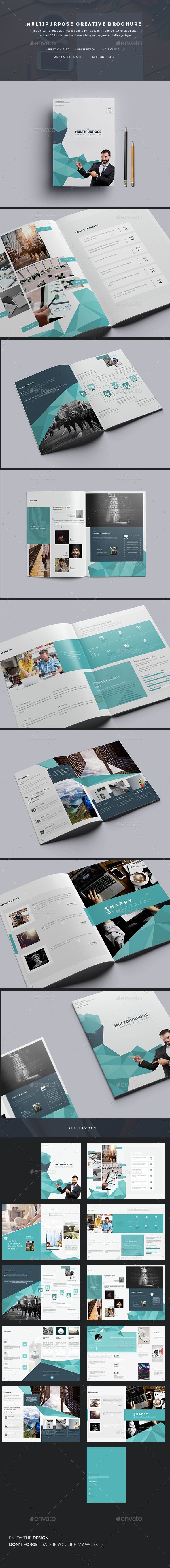 Multipurpose Creative Brochure Template InDesign INDD - 20 Pages, A4 & US Letter size