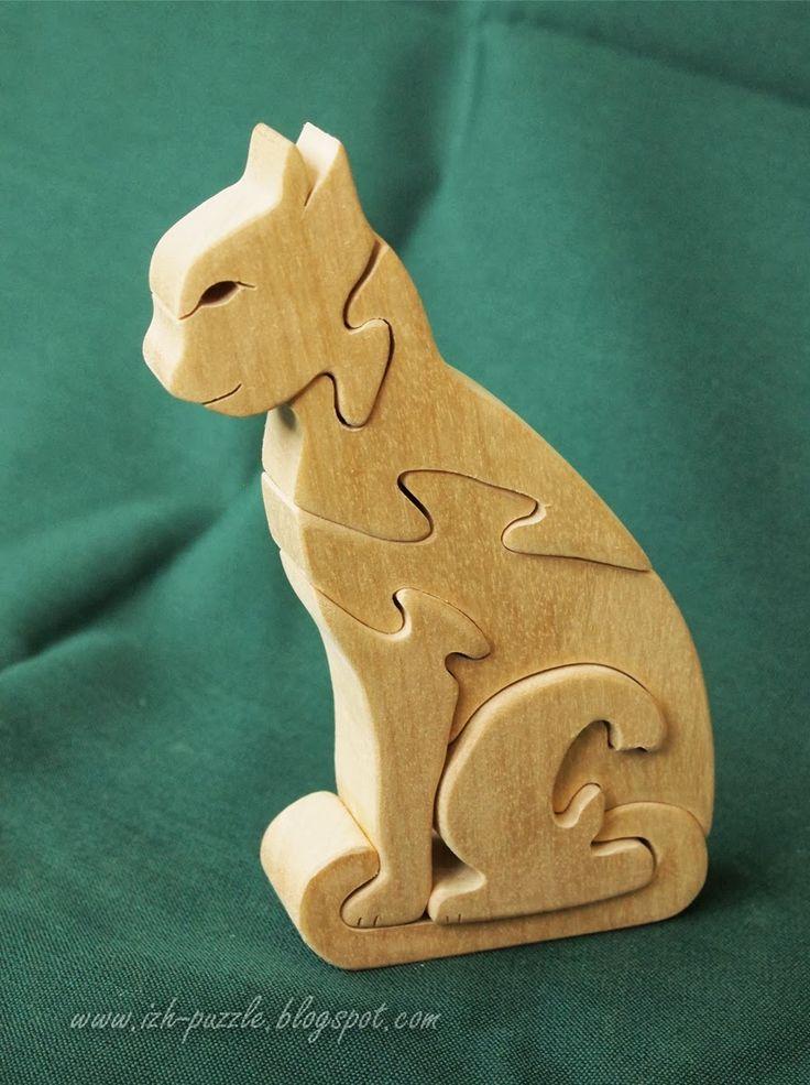 Деревянные пазлы и игрушки: Лошадка, кошка и единорог - деревянные 3-D пазлы
