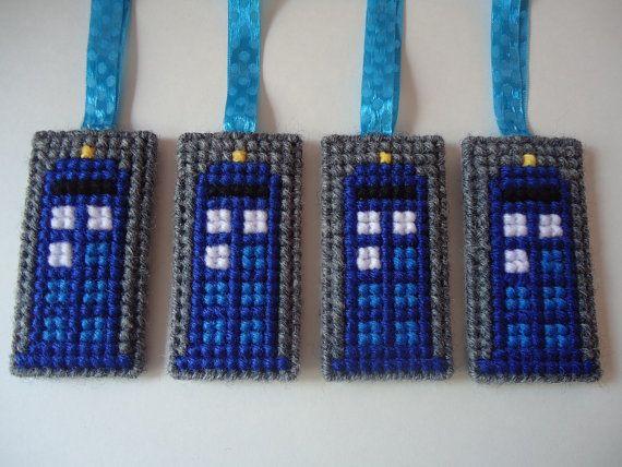 4 Doctor Who Tardis plastic canvas ornaments blue by Uneek4U, $24.00