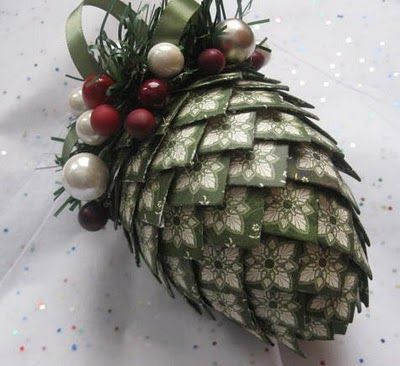 pinecone ornament made from design paper