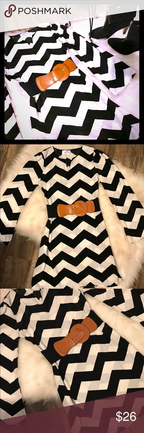 🌼Black/White Chevron Boutique Dress🌼 Bought from local boutique - V-Neck with bell sleeves & puckering on each shoulder. Looks AMAZING with black tights & the FINE suede Coach boots sitting right next to the dress!!!  💝💕💗 Dresses Long Sleeve