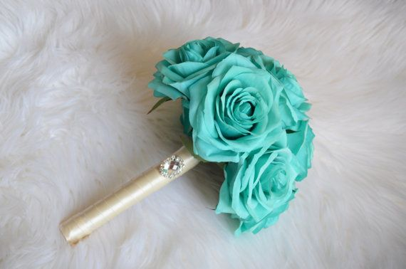 Turquoise BRIDESMAID bouquet. Real Touch Silk by KimeeKouture