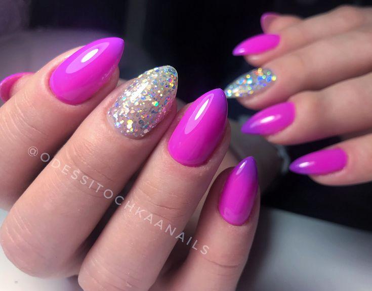 Термолак яркий маникюр фиолетовый омбре блестящие - Nails..