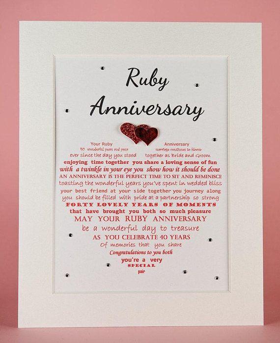 Ruby Anniversary Gift Unframed Grandparents Ruby Anniversary Gift