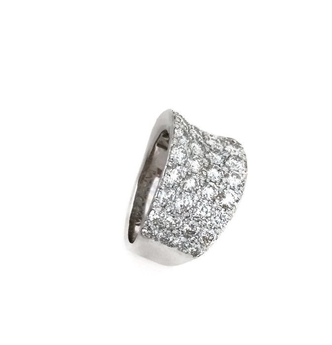 White Gold Wide Diamond Concave Band 3.80cts.