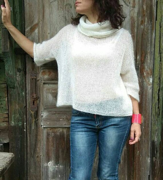 Oversized Mohair Top White Mohair Sweater Chunky Knit