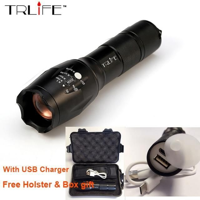 Usb Flashlight 8000 Lumens Lanterna X900 Led L2 T6 Tactical Torch Zoomable High Power Rechargeable Led Tactical Torches Lamp Light Rechargeable Led Flashlight