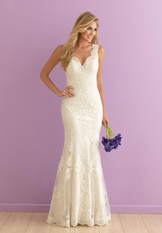 V-Neck lace sheath wedding dress I Allure Romance I http://knot.ly/6493BZvt7