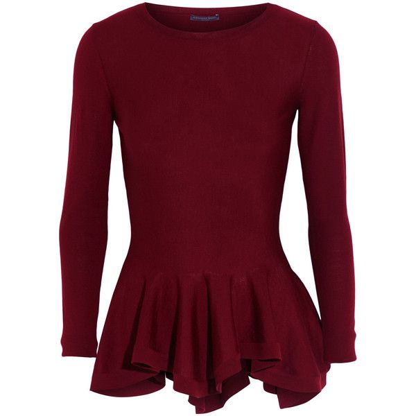 Alexander McQueen Merino wool peplum sweater ($1,195) ❤ liked on Polyvore featuring tops, sweaters, shirts, long sleeves, burgundy, tailored shirts, purple shirt, merino sweater, merino wool shirt and long sleeve shirts