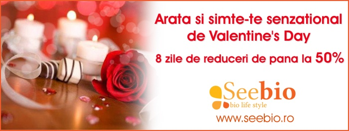 Special offers for Valentine's Day! 50% off for bio cosmetics on www.seebio.ro