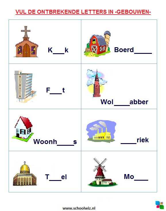 Vul de ontbrekende letters in: Gebouwen. #puzzels #taal #kinderpuzzel #gebouwen #schoolwiz