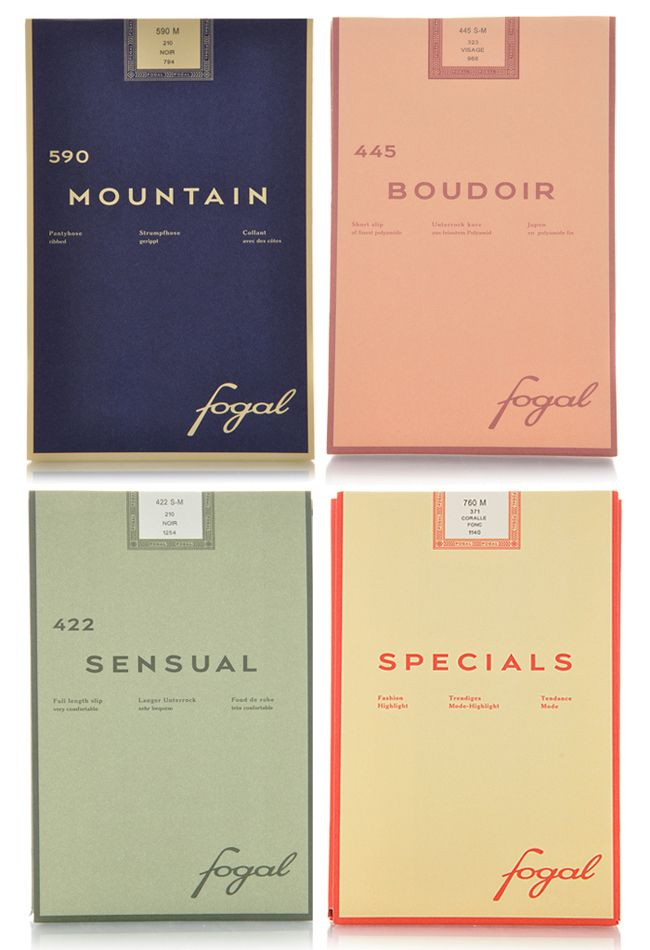 Fogal (Swiss fashion brand), high-end hosiery packaging #brand #graphicdesign #colors #vintage