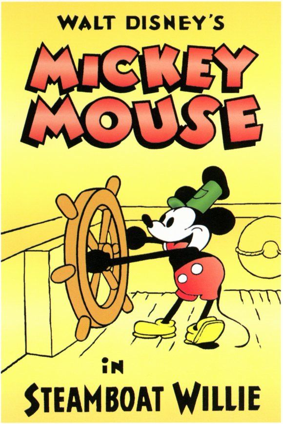 """Steamboat Willie"" movie poster    Year: 1928  Cast: Walt Disney  Directed By: Ub Iwerks, Walt Disney"