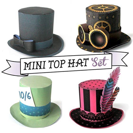 Mini top hat no sew set: Classic black top hat, Burlesque, Madhatter, Steampunk!