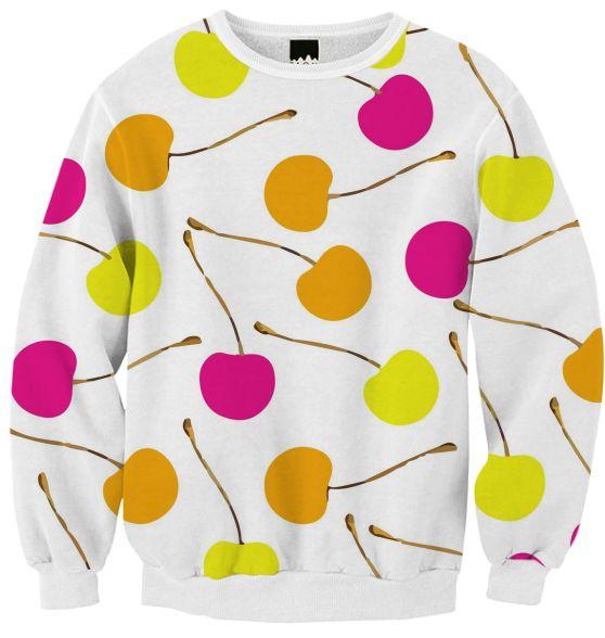 Ribbed Sweatshirt Cherries by gonpart