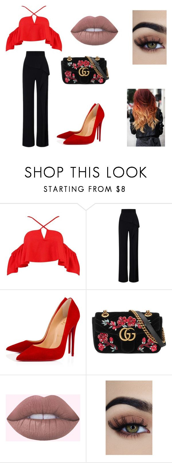 """Sans titre #515"" by radio-girl-21 ❤ liked on Polyvore featuring Boohoo, Roland Mouret, Christian Louboutin and Gucci"