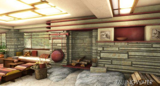 frank lloyd wright falling water house interior images | Margy's Musings: Frank LLoyd Wright - Falling Waters
