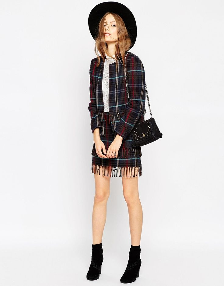 Image 1 of ASOS Premium Cropped Blazer in Check with Fringe Detail Co-ord