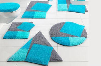 Tapis salle de bain bleu et gris