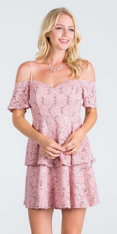 0f913b4b588 La Scala 25201 Layered Cold Shoulder Lace Dress Mauve