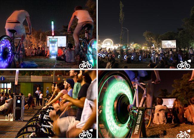 Energie | Santiago, Chili : Un cinéma en plein-air qui fonctionne grâce à l'énergie des cyclistes-cinéphiles