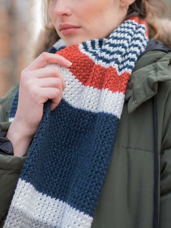 Melville Easy Striped Scarf Free Knitting Pattern Knitting