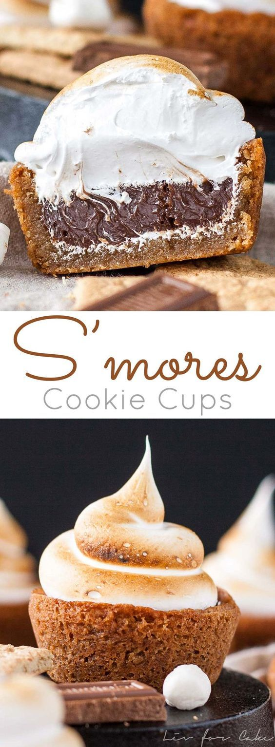 No campfire needed for these S'mores Cookie Cups! Graham cracker cookie cups filled with a Hershey's milk chocolate ganache, topped with toasted homemade marshmallow fluff.   http://livforcake.com