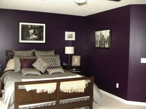 A purple bedroom might actually work lower sheen bluer for Dark purple wall color