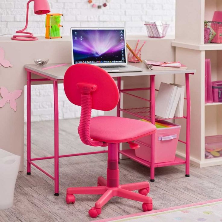 Furniture: Cute Pink Computer Desk For Girls Teenagers With White ...