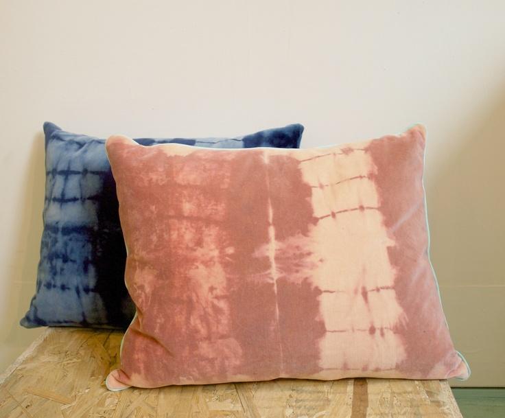 Hand dyed pillows by Pernille Rask. Designkollektivet.dk