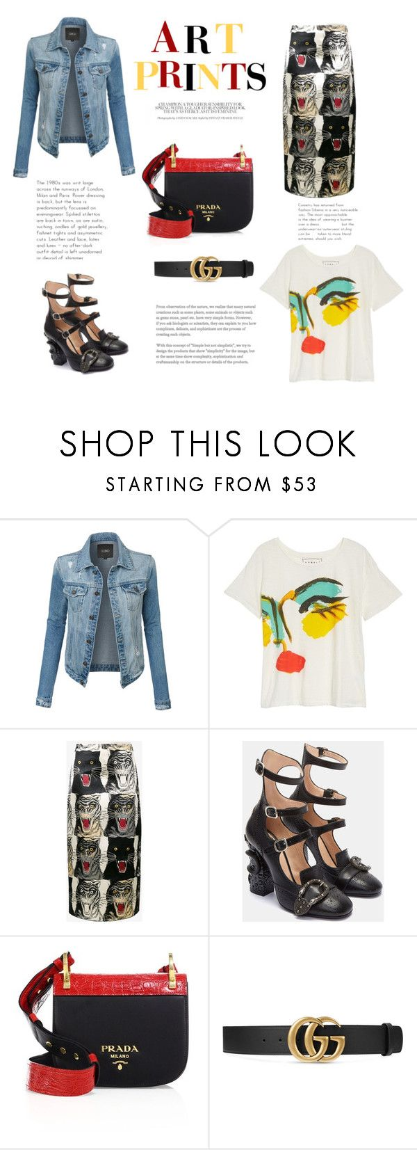 """Prints"" by krystalkm-7 ❤ liked on Polyvore featuring LE3NO, Junk Food Clothing, Gucci and Prada"