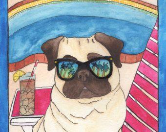Palm Springs Mops Hund Originalkunst, lustige Tiere Kunst, Malerei Aquarell Hund, Hund Liebhaber Geschenk Artwork, schrullige Art bunte Folklore-Kitsch Wandkunst