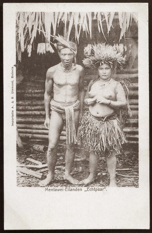 Mentawai native Man and Woman ~ Indonesia ~ ca 1906 Mentawai (also known as Mentawei and Mentawi) people are the native people of the Mentawai Islands, West Sumatra province, Indonesia.