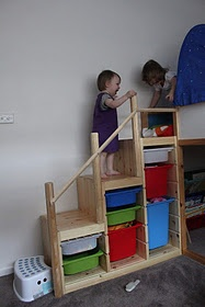 Stairs to tree house with storage for toys/dress up clothes