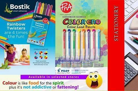 Bostik rainbow twisters and colour eno lead pencils are available in selected PNA stores. To locate your nearest PNA store, click here http://bit.ly/1zwvMIL.  Rainbow twisters are 4 times the fun!