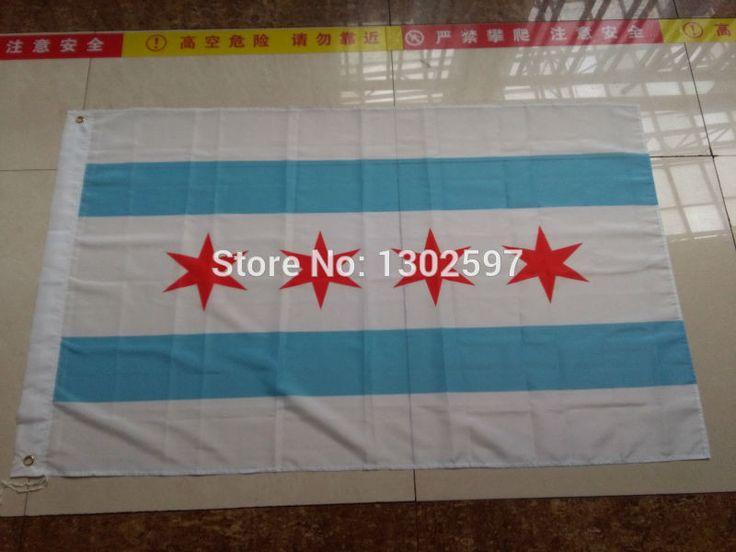 3ft x 5ft Hanging Flag Polyester Chicago city flag/ United States/ Big Flag for Celebration