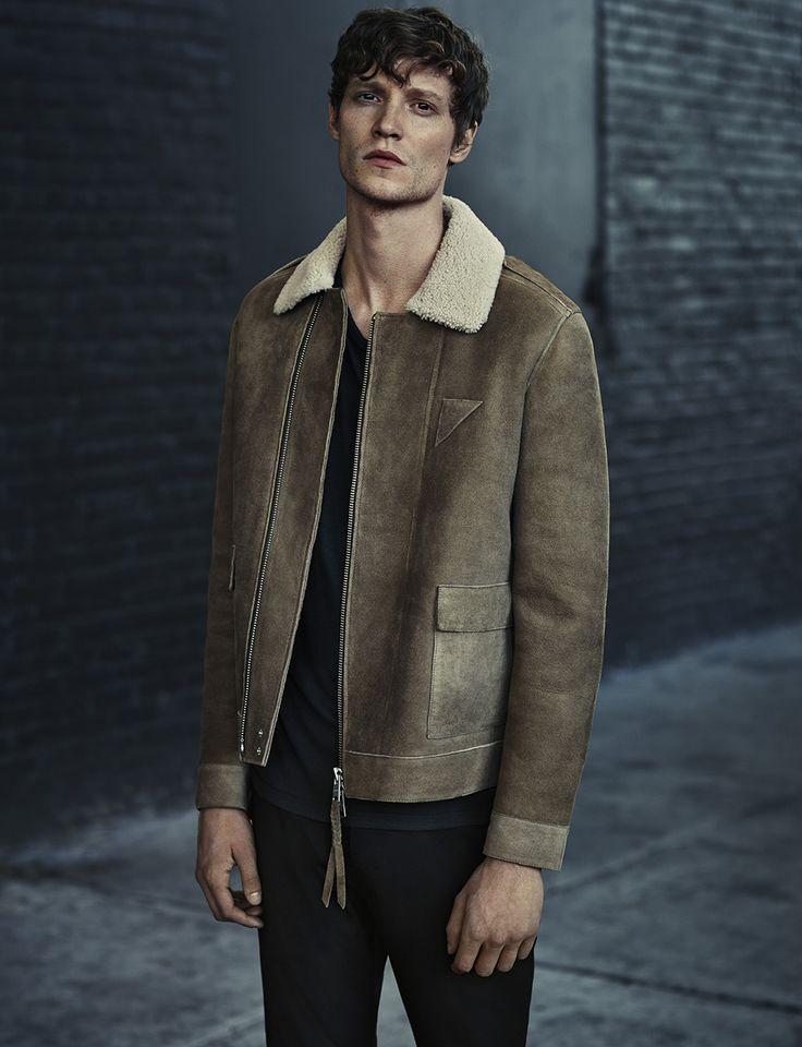 ALLSAINTS MEN'S LOOKBOOK AUTUMN 2015 LOOK 2. The Bedford Shearling Jacket, Virate Crew, Silas Trouser and Spectator Boot