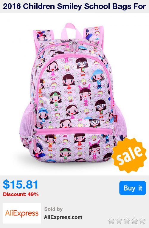 2016 Children Smiley School Bags For Girls Boys High Quality Children Backpack Cartoon Primary School Backpack Mochila Infantil * Pub Date: 08:39 Sep 13 2017