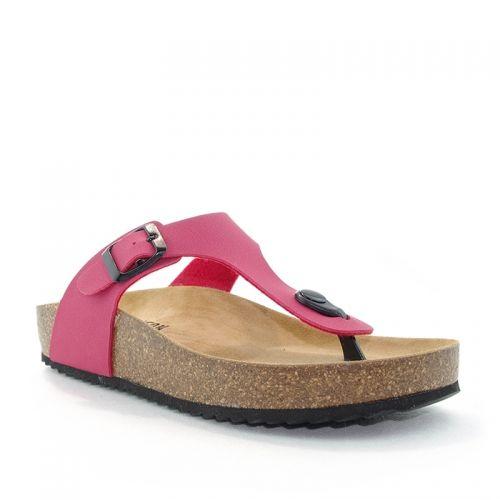 Tongs femme Plakton CP Bolero rouge/framboise, en synthétique, talon de 3 cm.Ajustées par une bride à boucle sur le coup de pied. Semelle agréable en cuir végétal bio,entre doigts à l'avant du pied.