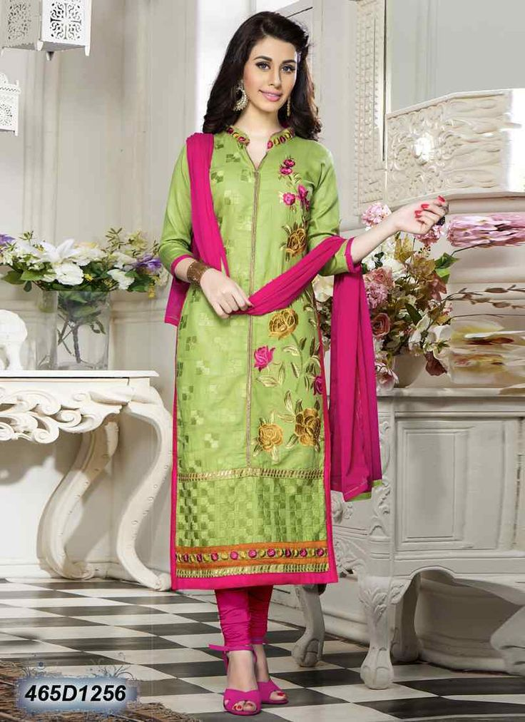 Desirable Green Coloured Cotton Salwar Suit