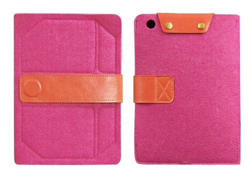 Gary & Ghost - iPad Mini - Handheld Case Sleeve Features As a Stand Made By Pure Wool Felt and Genuine Leather (Pink Wool Felt Orange Strap Closure) by D-Park, http://www.amazon.co.uk/dp/B00C9SK90W/ref=cm_sw_r_pi_dp_cwjvtb1VGWYZS