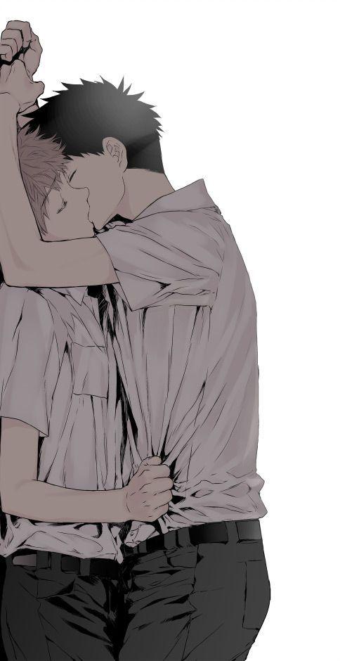 Поцелуй аниме картинки прижимает к стене