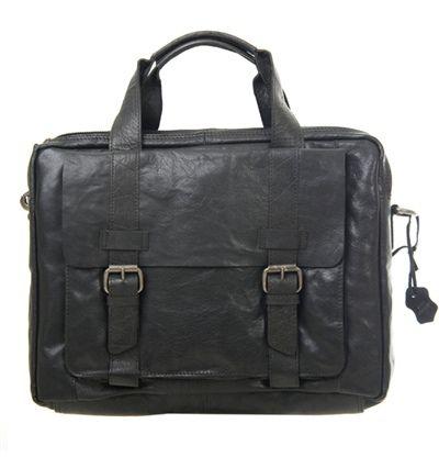 Mega fede Spikes & Sparrow computertaske i skind, 24039, sort  Rejsetasker til Kufferter i behageligt materiale