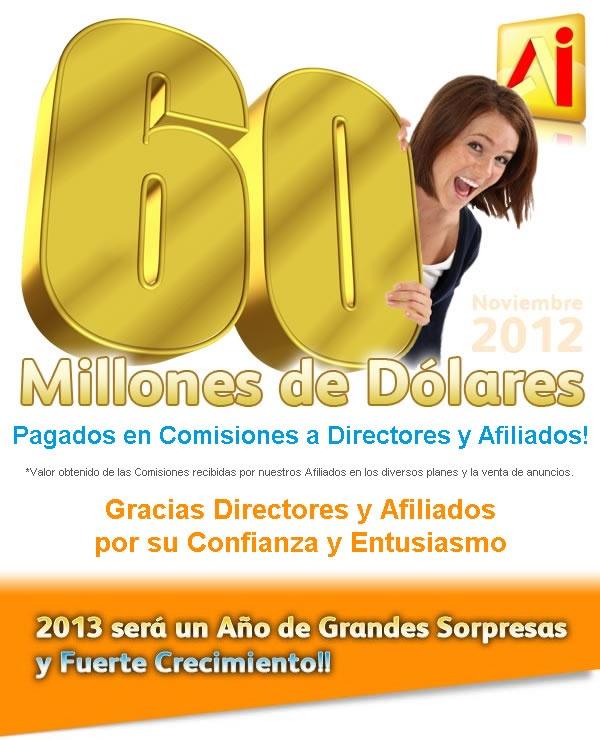 Comisiones recibidas por nuestros Afiliados en los diversos planes y la venta de anuncios en AmarillasInternet