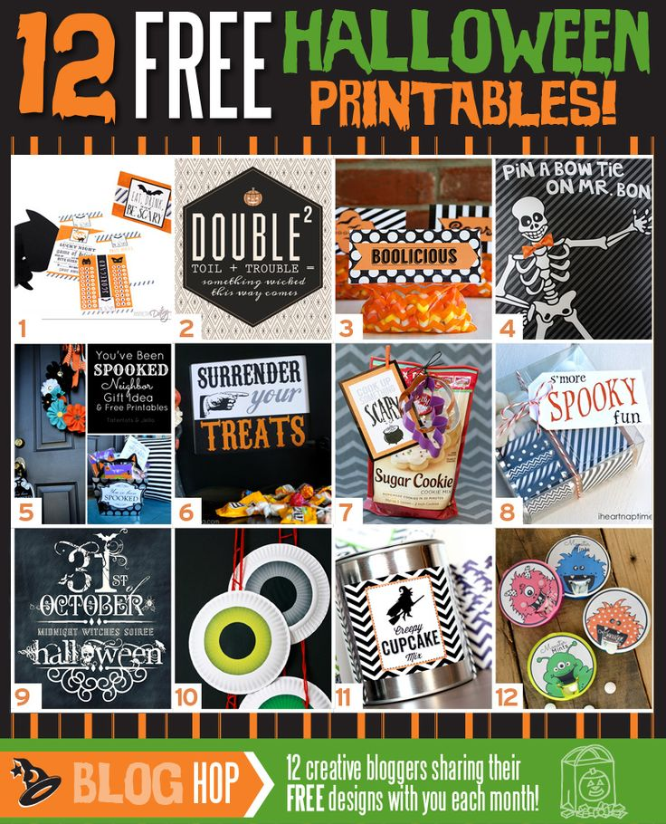 October- 12 free Halloween Printables here!